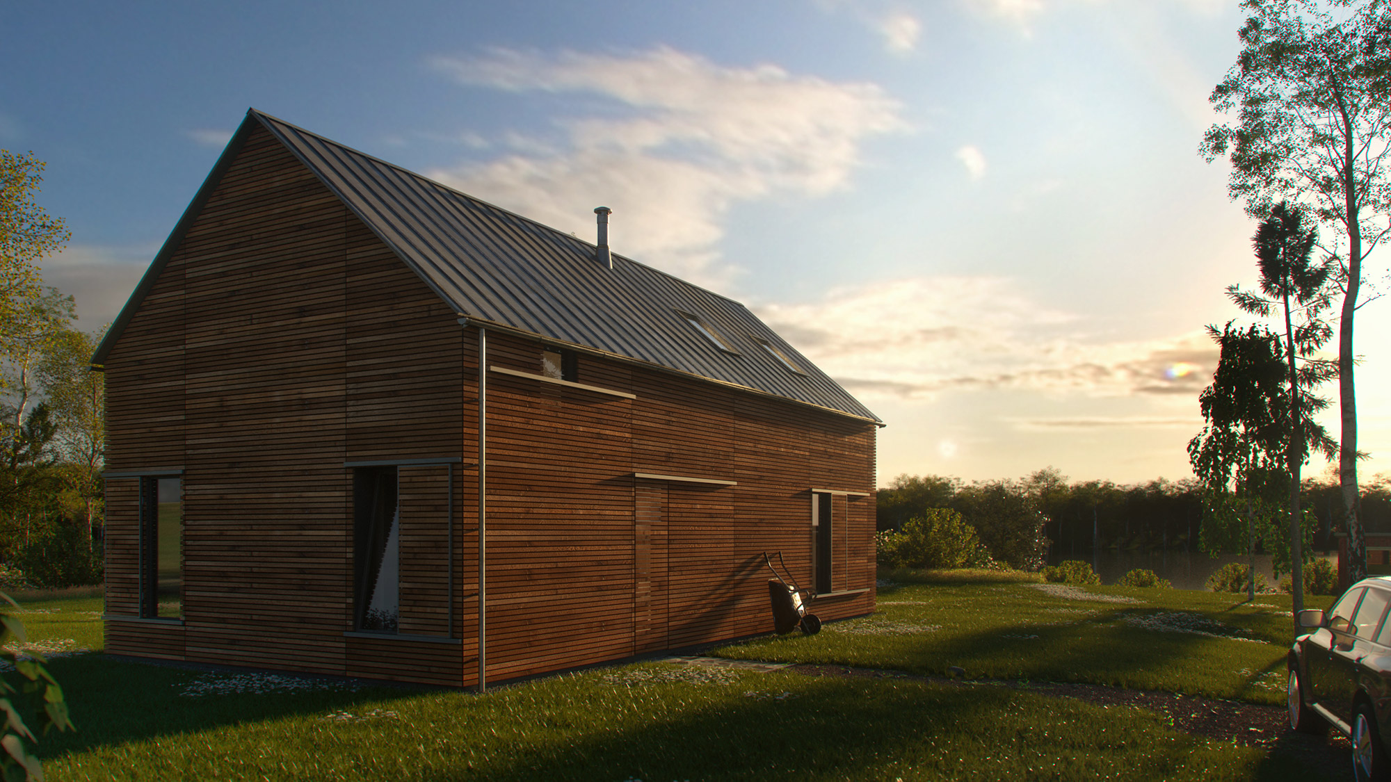 Rendering Landhaus Holz sunset